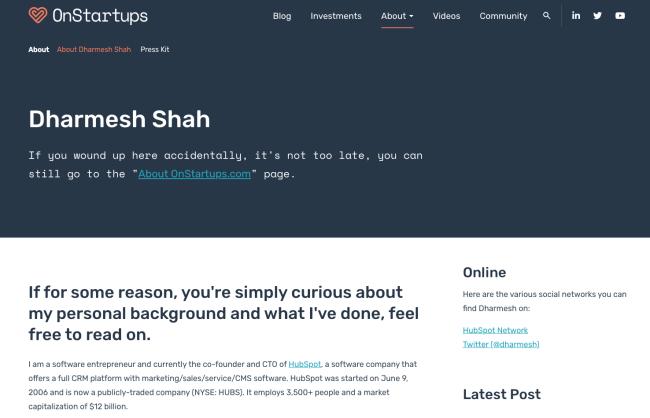 Darmesh Shah's professional background on OnStartups