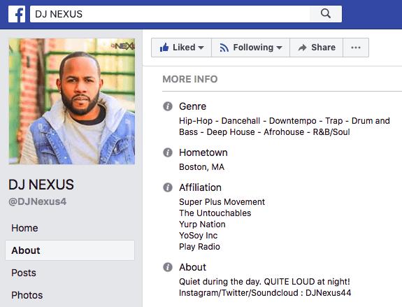 DJ Nexus's professional bio on Facebook