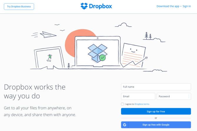 Dropbox call to action button