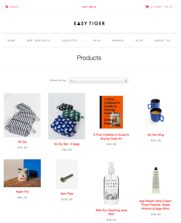 easy tiger Example of Inspiring Shopify Ecommerce Stores