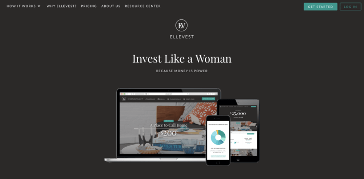 Ellevest homepage web design