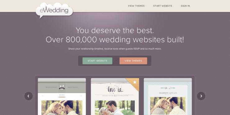 eWedding homepage web design