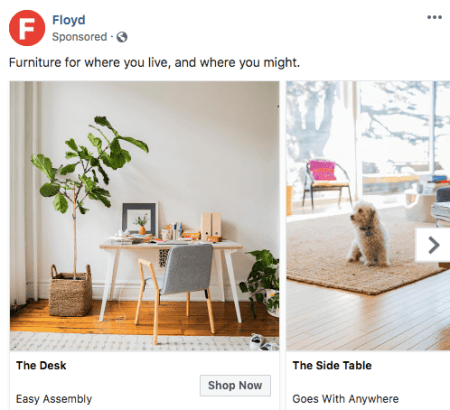 Facebook Carousel ad by Floyd