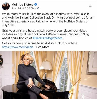 Facebook Page post from McBride Sisters' FB Page