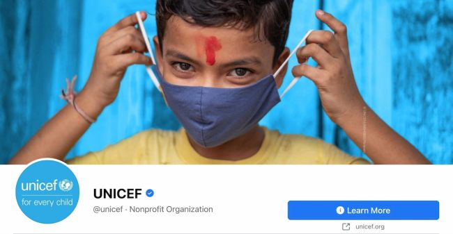 Facebook Page cover from UNICEF's FB Page