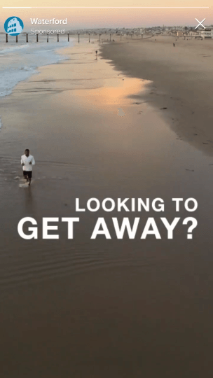 Facebook Stories ad by Waterford showing a picture of a beach