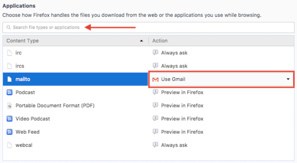 Applications menu with mailto default email option in General settings of Firefox