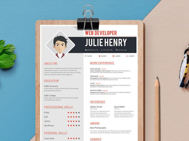 Resume template for MS Word with space for comic headshot
