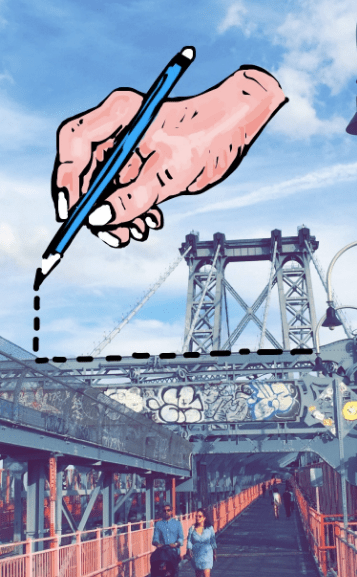 Amazing Snapchat drawing of hand drawing dotted line over New York City bridge