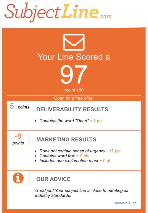 SubjectLine.com subject line scorecard