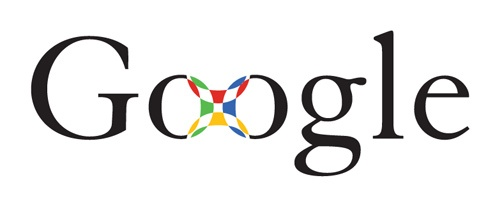 Early black serif font Google logo prototype where Os are connected by a colored square pattern