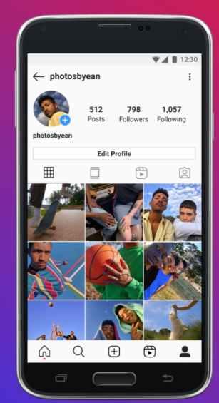 instagram lite profile tab ux example