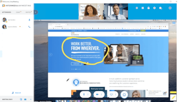intermedia anymeeting dashboard screenshare