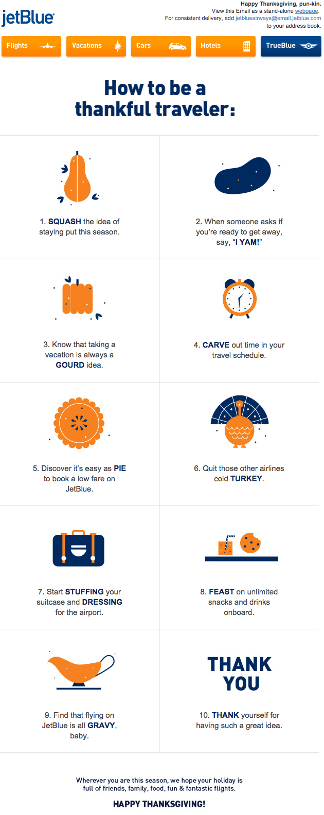 JetBlue: How to Be a Thankful Traveler