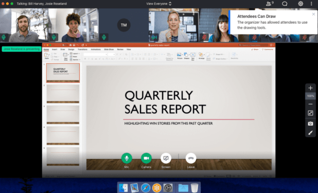 GotoMeeting's example dashboard