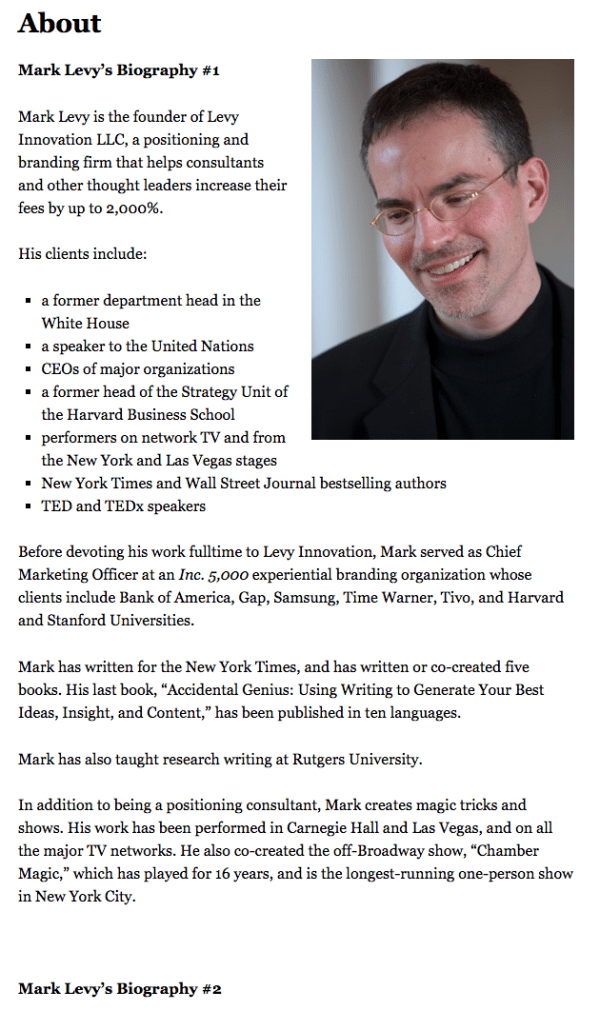 Mark Levy's professional bio in his personal website