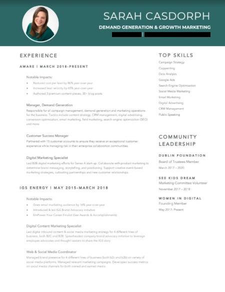 Marketing Resume Example: Sarah Casdorph Page 1