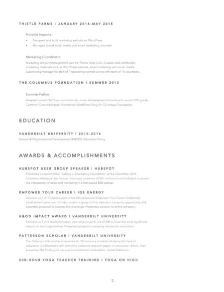 Marketing Resume Example: Sarah Casdorph Page 2