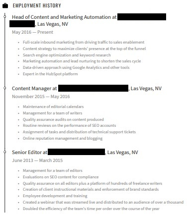 professional experience and progression of roles on a marketing resume
