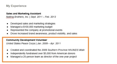 example resume with peace corps as a position