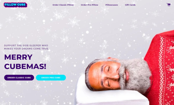 pillow cube holiday homepage