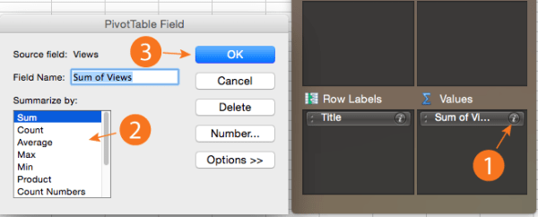Changing the field options of a pivot table in Excel