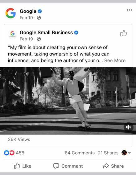 Google's Facebook page reposting a video post from the google small business Facebook page