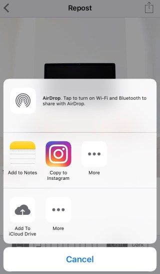 Mobile button to Copy to Instagram