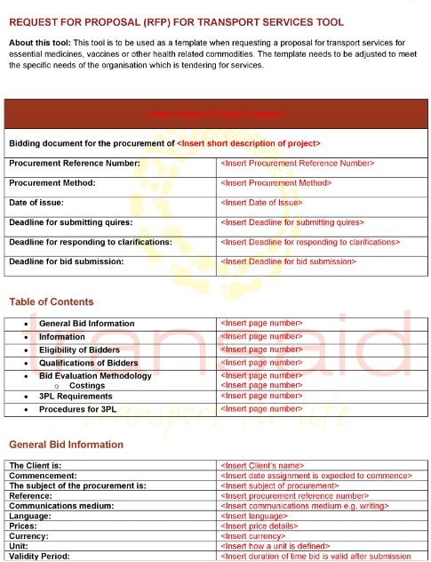 rfp sample templatelab with tables and red headings