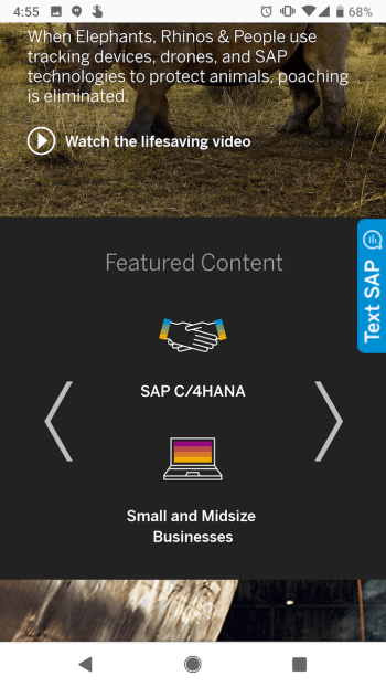 SAP mobile website with call-to-action sliders