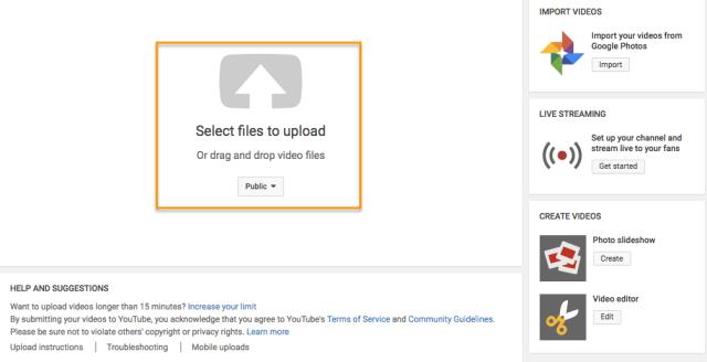 Richiesta di pagina del creatore di YouTube per selezionare i file da caricare