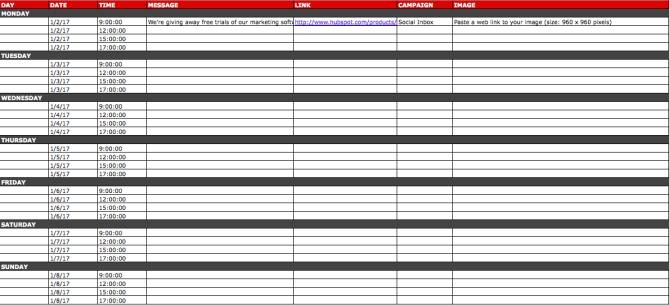 Social media calendar template for Google+ content