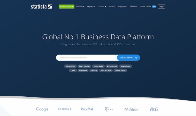 Statista data visualization platform and market research tool