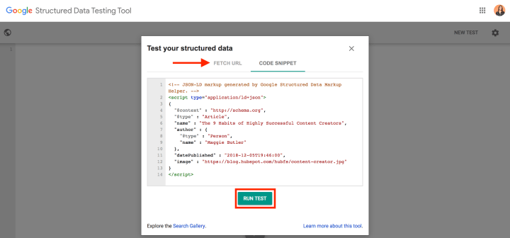 structured data google markup testing tool test structured data