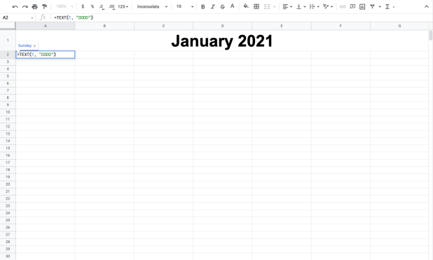 Entering the weekday formula in a Google Sheets calendar