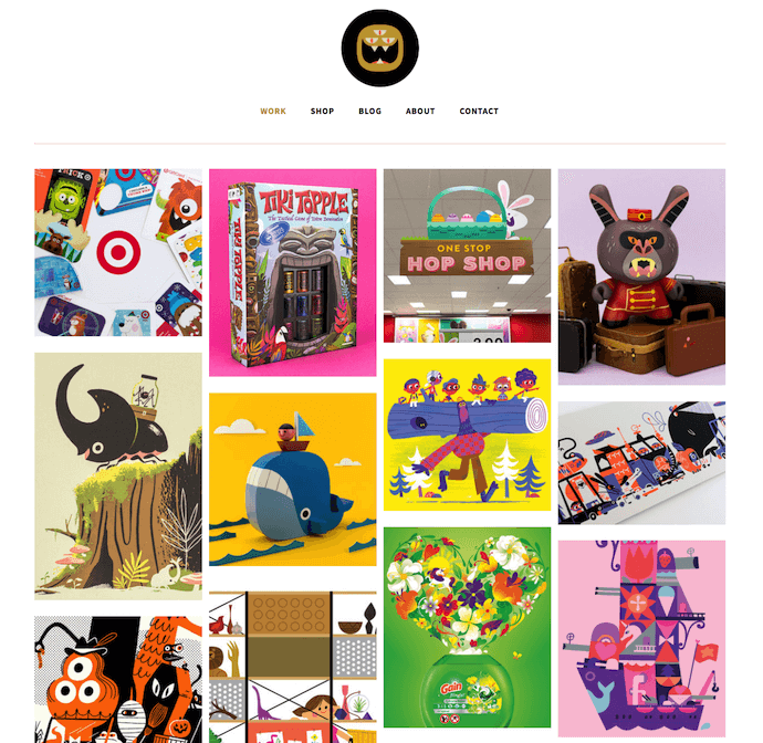Personal website portfolio of The Beast Is Back, also known as Christopher Lee, with tiled images of colorful design work