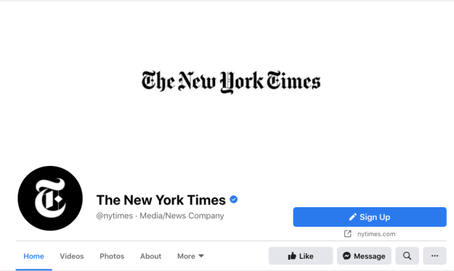 The New York Times' simple Facebook cover with its logo against white text
