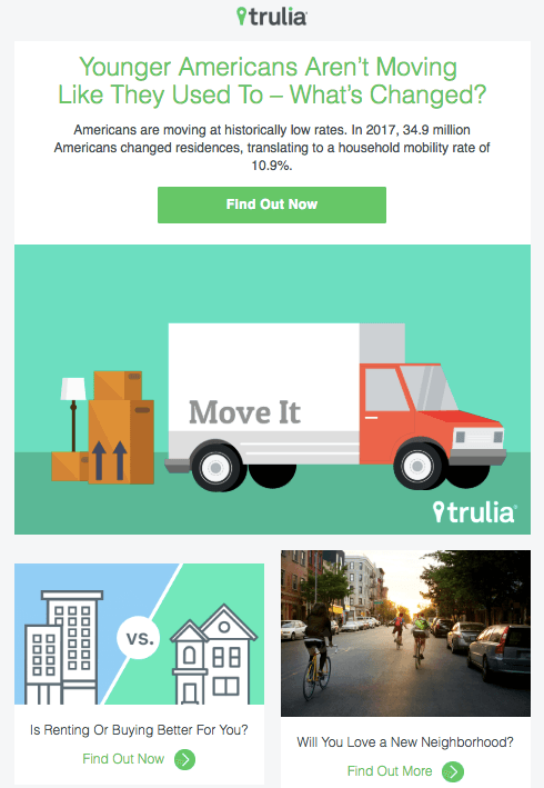 Email marketing campaign example by Trulia reporting on moving trends