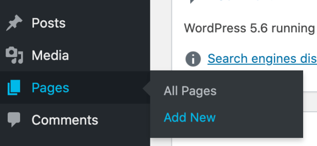 the dashboard menu on a wordpress website