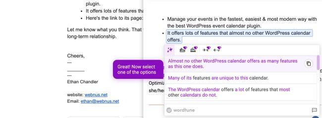 WordTune Chrome extension