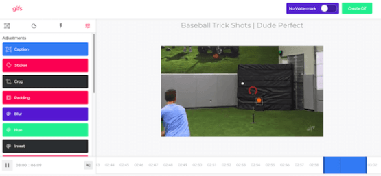 YouTube trick to create a GIF from a video.