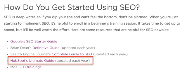 """Article on """"how to get started using seo"""" featuring hubspot's ultimate guide to se"""