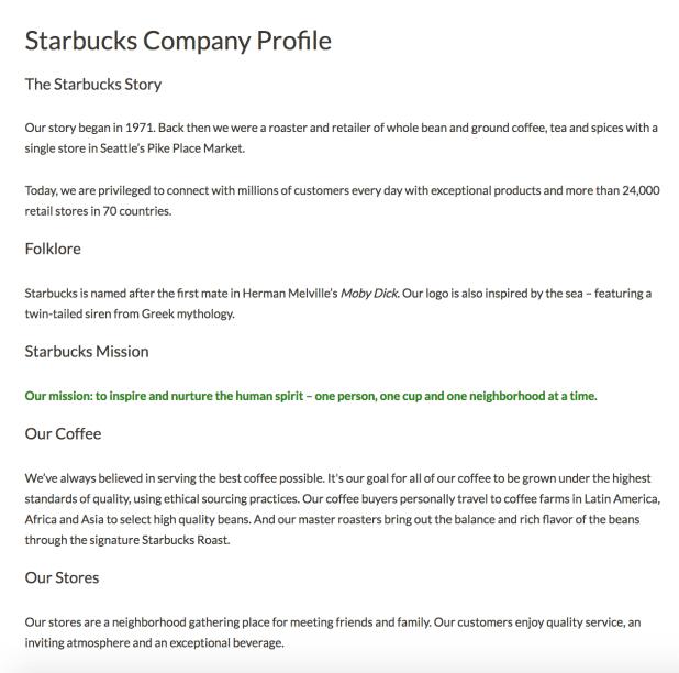 Starbucks company profile