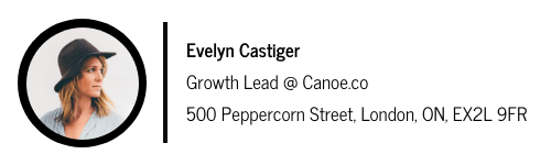 email signature for Evelyn Castiger with a space divider between photo on the left and text on the right
