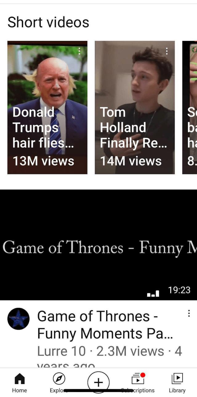 Short video area of YouTube app