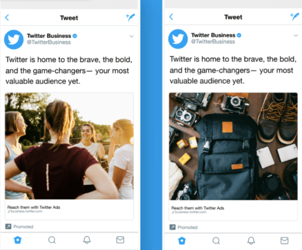 A Twitter A/B social media test example
