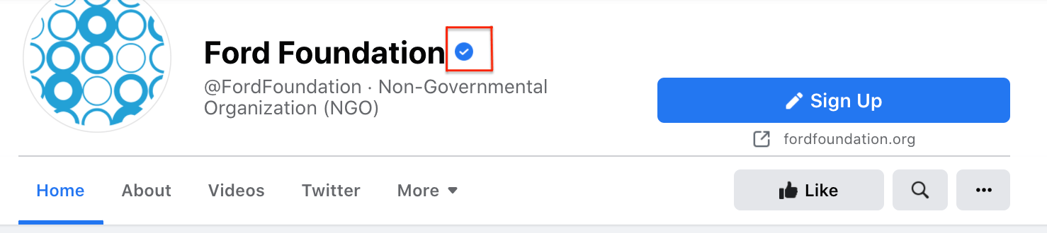Facebook verification badge example