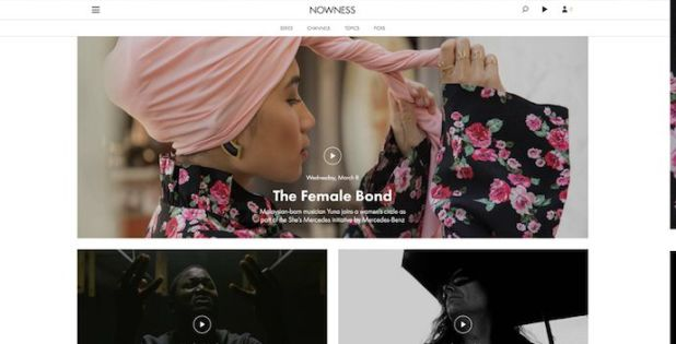 Homepage of NOWNESS, an award-winning website