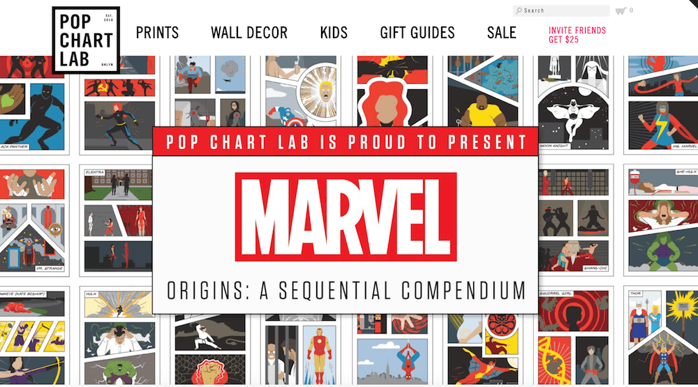 Pop Chart Lab Shopify store with Marvel superhero promotion  16 of the Best Shopify Stores to Inspire Your Own popchart