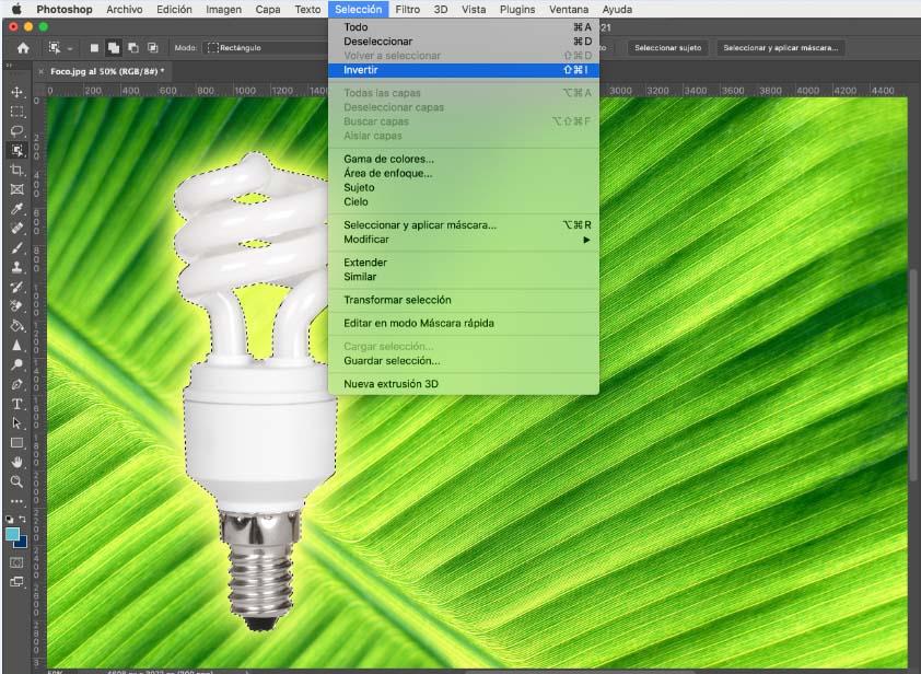 Invertir selección para quitar fondo de imagen con selección de objetos